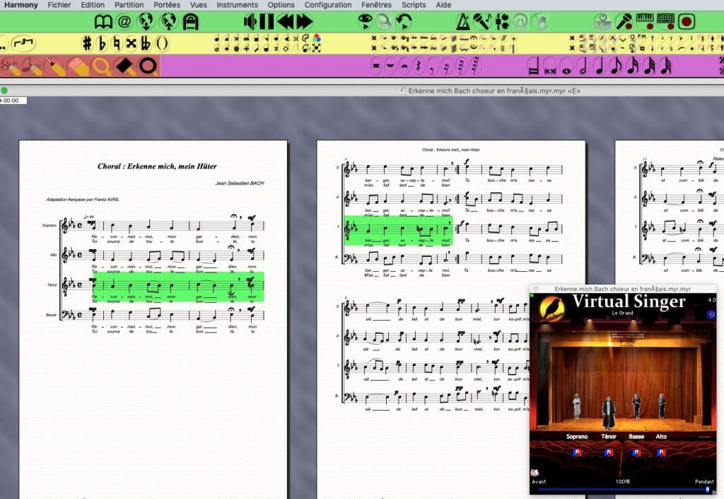 Copie d'écran des logiciels Harmony Assistant et Virtual singer