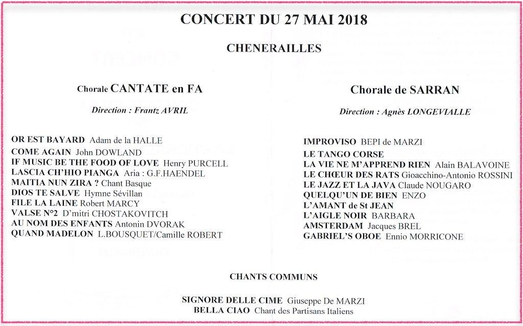 Programme du concert commun avec la chorale de Sarran